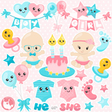 Sale Gender reveal clipart commercial use, vector graphics, digital  - CL1142