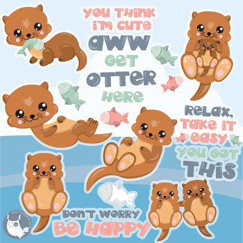 Sale Happy otter clipart commercial use, vector graphics, digital  - CL1135