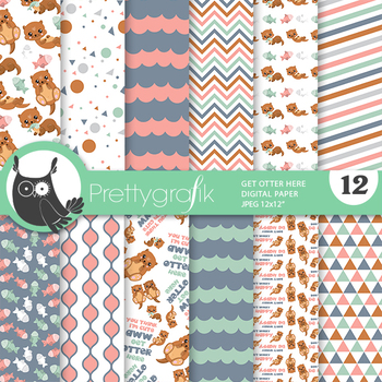Sale Happy otter papers, commercial use, scrapbook papers, patterns - PS940