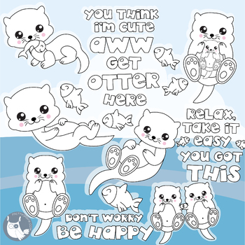 Sale Happy otter stamps commercial use, vector graphics, images  - DS1135