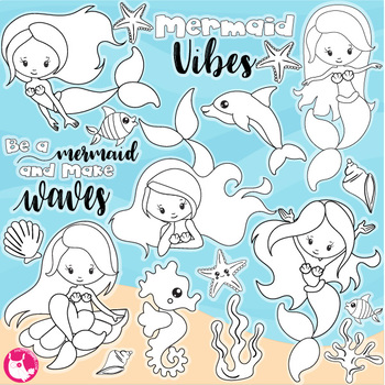 Sale Mermaid vibes stamps commercial use, vector graphics, images  - DS1152