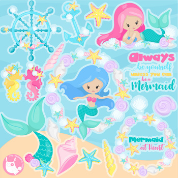 Sale Ocean mermaid clipart commercial use, vector graphics, digital  - CL1151