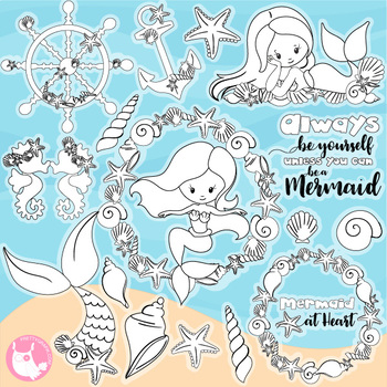 Sale Ocean mermaid stamps commercial use, vector graphics, images  - DS1151
