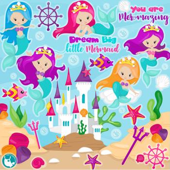 Sale Princess mermaid clipart commercial use, vector graphics, digital  - CL1155