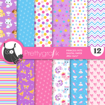 Sale Princess pets papers, commercial use, scrapbook papers, patterns - PS943