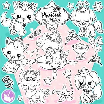 Sale Princess pets stamps commercial use, vector graphics, images  - DS1163