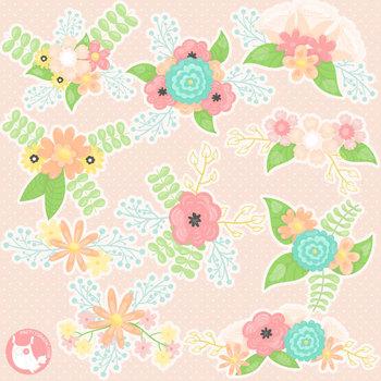 Sale Spring bouquet clipart commercial use, vector graphics, digital  - CL1137