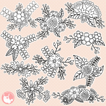Sale Spring bouquet stamps commercial use, vector graphics, images  - DS1137