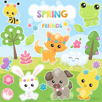 Sale Spring friends clipart commercial use, vector graphics, digital  - CL1129
