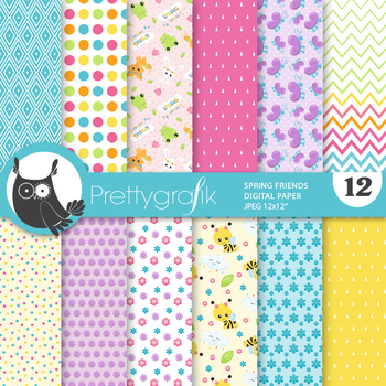 Sale Spring friends papers, commercial use, scrapbook papers, patterns - PS917