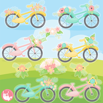 Sale Summer bicycle clipart commercial use, vector graphics, digital  - CL1140