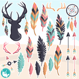 Sale Tribal feathers clipart commercial use, vector graphics, digital  - CL1174