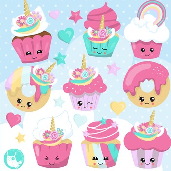 Sale Unicorn cupcakes clipart commercial use, vector graphics, digital  - CL1172