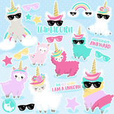 Sale Unicorn llama clipart commercial use, vector graphics, digital  - CL1168