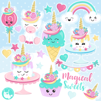 Sale Unicorn sweets clipart commercial use, vector graphics, digital  - CL1159