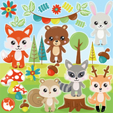 Sale Woodland animals clipart commercial use, vector graphics, digital  - CL1143