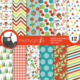 Sale Woodland animals papers, commercial use, scrapbook papers, patterns - PS930
