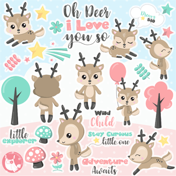 Sale Woodland deer clipart commercial use, vector graphics, digital  - CL1149