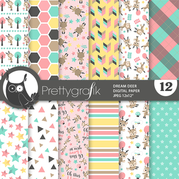 Sale Woodland deer papers, commercial use, scrapbook papers, patterns - PS939