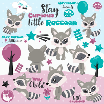 Sale Woodland raccoon clipart commercial use, vector graphics, digital  - CL1148