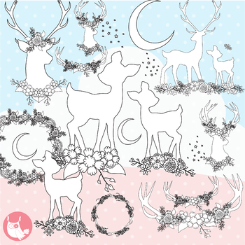 Sale deer stamps commercial use, vector graphics, images  - DS1169
