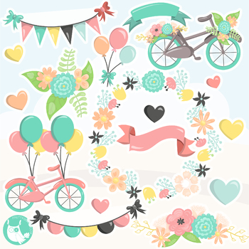 Sale flower bicycle clipart commercial use, vector graphics, digital  - CL1138