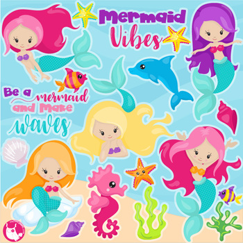 Sale mermaid vibes clipart commercial use, vector graphics, digital  - CL1152