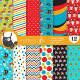 Sale pirate animal papers, commercial use, scrapbook papers, patterns - PS936