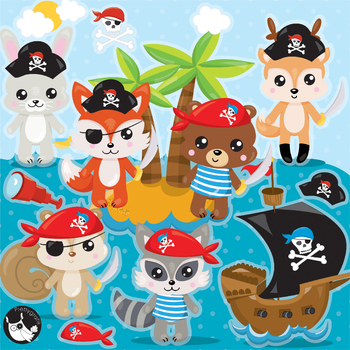 Sale pirate animals clipart commercial use, vector graphics, digital  - CL1141