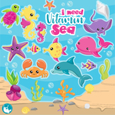 Sale sea animals clipart commercial use, vector graphics, digital  - CL1154