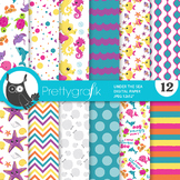 Sale sea animals papers, commercial use, scrapbook papers, patterns - PS941