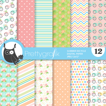 Sale summer bicycle papers, commercial use, scrapbook papers, patterns - PS927