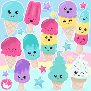 Sale summer ice cream clipart commercial use, vector graphics, digital  - CL1134