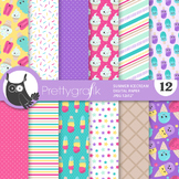 Sale summer ice cream papers, commercial use, scrapbook papers, patterns - PS934