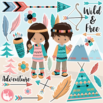 Sale tribal kids clipart commercial use, vector graphics, digital  - CL1141