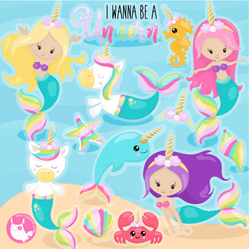 Sale unicorn mermaid clipart commercial use, vector graphics, digital  - CL1157