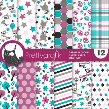 Sale woodland raccoon papers, commercial use, scrapbook papers, patterns - PS932