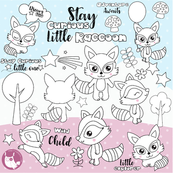 Sale woodland raccoon stamps commercial use, vector graphics, images  - DS1148