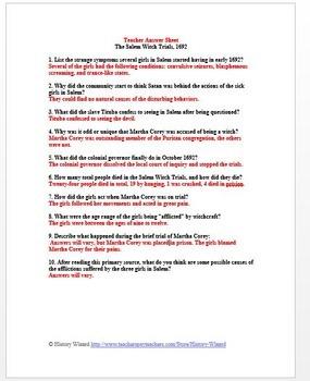 Salem Witch Trials, 1692 Primary Source Worksheet