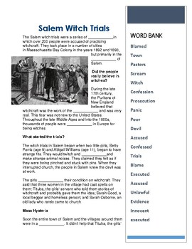 Salem Witch Trials - CLOZE Reading