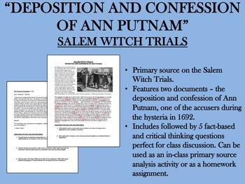 """Deposition and Confession of Ann Putnam"" - Salem Witch Trials - USH/APUSH"