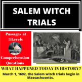 Salem Witch Trials Differentiated Reading Passage March 1