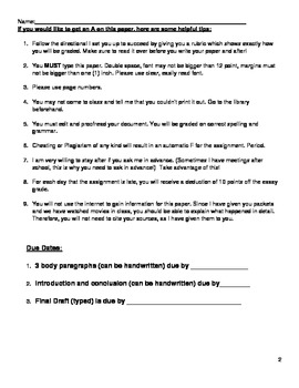 Salem Witch Trials Essay Assignment (Common Core)