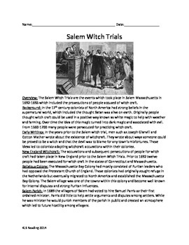 Salem Witch Trials - Full History Review Article Lesson Questions Vocabulary