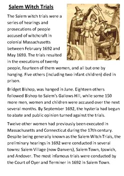 Salem Witch Trials Handout