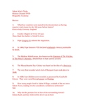 Salem Witch Trials History Channel DVD Review - Answer Key