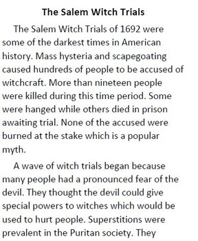 Salem Witch Trials Informational Text and Comprehension Questions