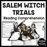 Salem Witch Trials Reading Comprehension Worksheet, Puritans, Halloween
