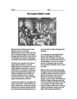 Colonization: Salem Witch Trials Reading and Questions