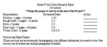 Salem Witch Trials Research Project